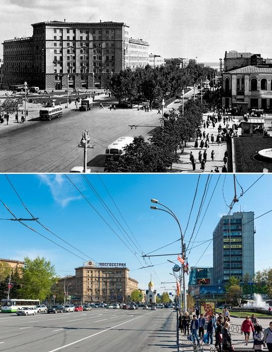 Квартал купеческой застройки вдоль Красного проспекта просуществовал почти до конца 60-х годов ХХ века.