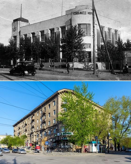 После реконструкции в 1950-х годах здание значительно увеличилось по длине и стало пятиэтажным жилым домом с аптекой на углу.