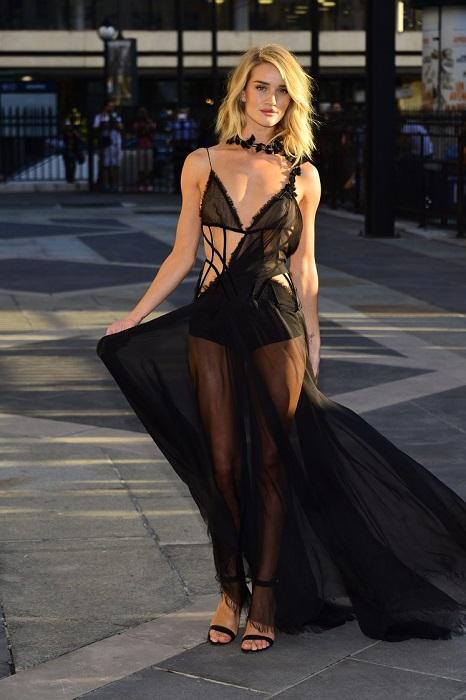 Бывший «ангел» бельевой марки Victoria's Secret, выбрала для выхода в свет откровенный наряд Atelier Versace, в котором она была скорее раздета, чем одета.