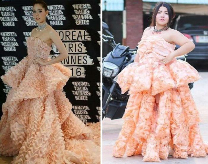 Потрясающее платье Ralph & Russo  Бенджапхорн Четсадакан украсила крекерами домашнего приготовления.