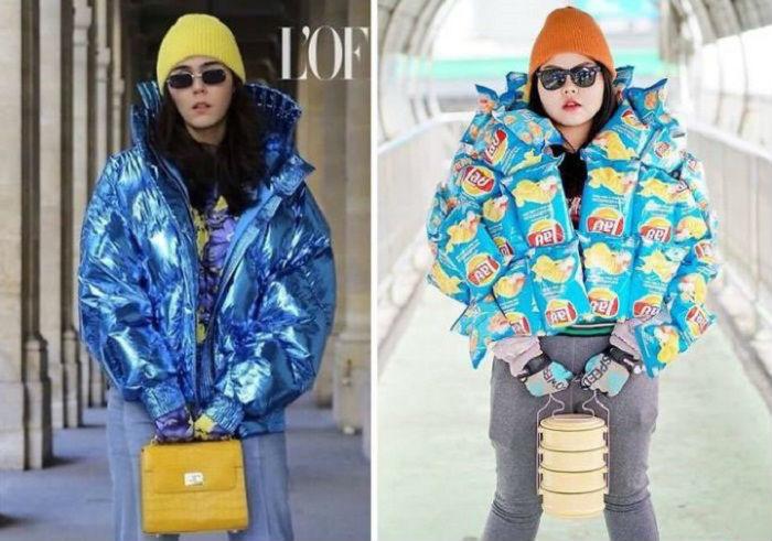 Чипсы отлично смотрятся вместо курточки, а термос заменяет желтую сумочку.