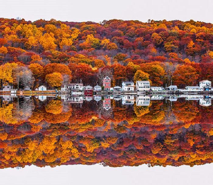 Яскравий осінній пейзаж відбивається в дзеркально чистою воді без вади.