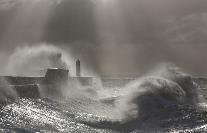 Захватывающий черно-белый снимок штормовых волн освещенных косыми солнечными лучами.