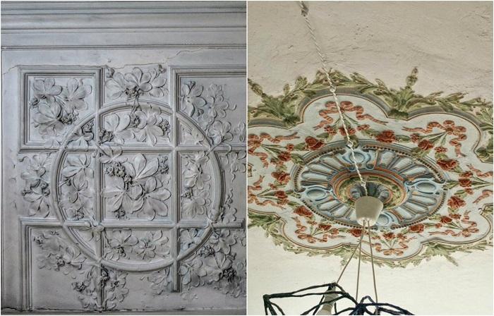 Шикарные фрагменты лепнины на стене и потолке.