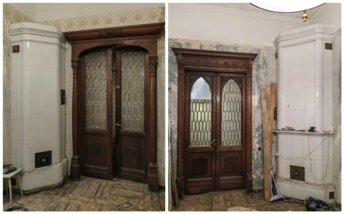 Фасадные залы с двустворчатыми резными дверями и витражными стеклами обогревались лаконичными белыми изразцовыми печами.