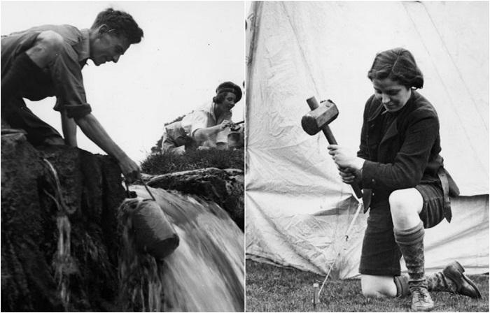 Обустройство туристического лагеря возле питьевого источника в 1930-х годах.