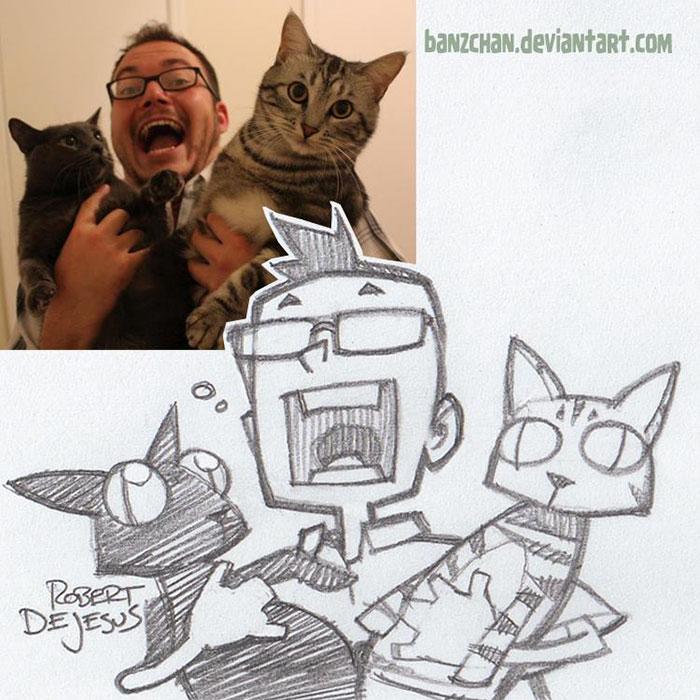 Мужчина со своими преданными котами.