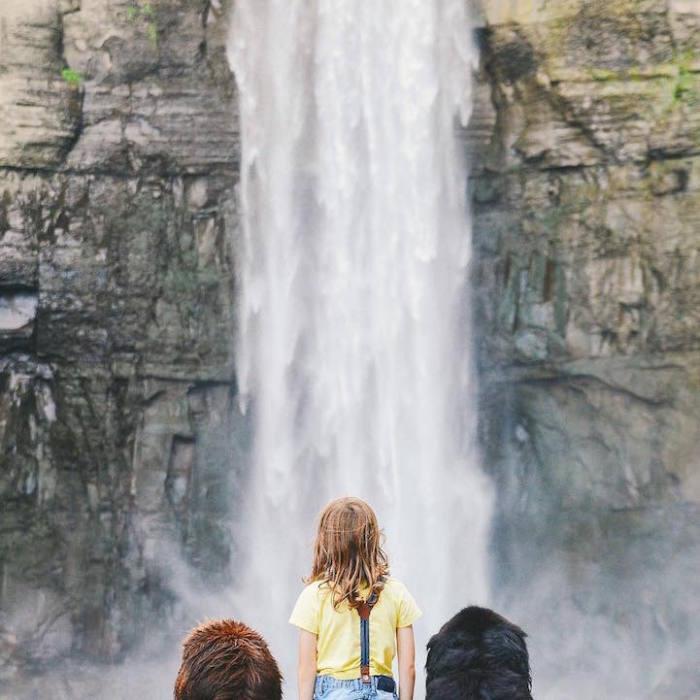 Джулиан с двумя домашними ньюфаундлендами у водопада.