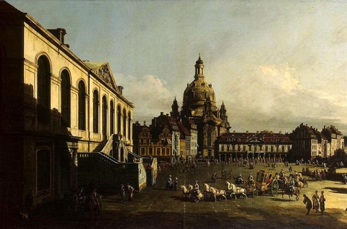 Картина написана итальянским художником, мастером городского пейзажа Бернардо Беллотто. 1747 год.