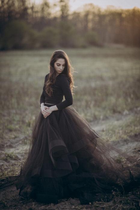 Потрясающая свадебная юбка шоколадного оттенка