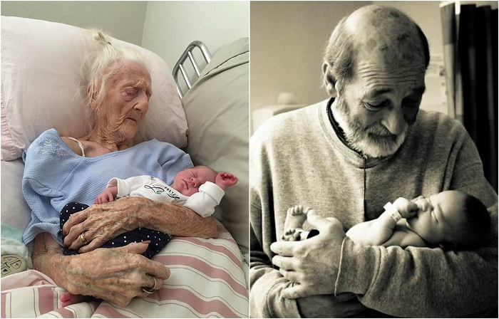 Эмоциональные снимки, запечатлевшие первую встречу поколений.