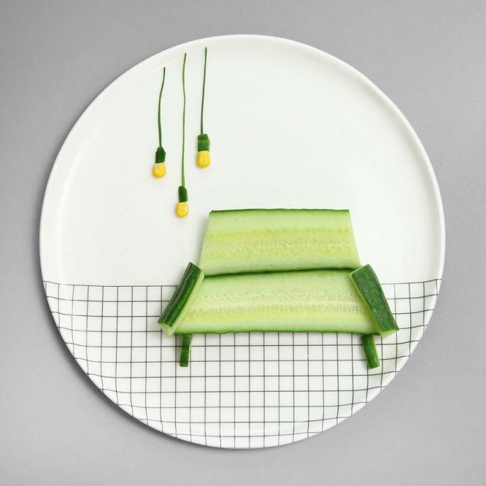 Креативная картина из овощей.