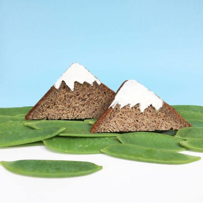 Съедобный пейзаж с белоснежными вершинами.
