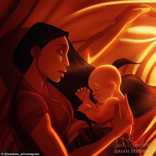 Покахонтас с младенцем.