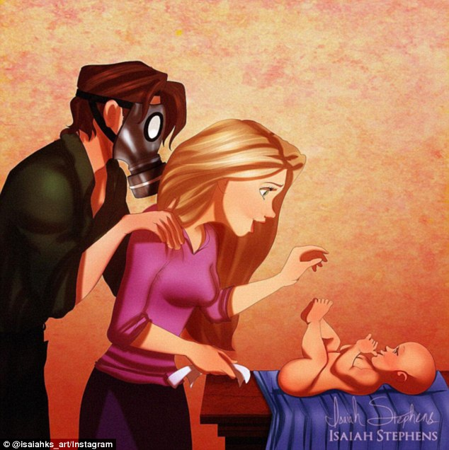 Рапунцель меняет своему малышу подгузник, а Флинн мужественно ей помогает.