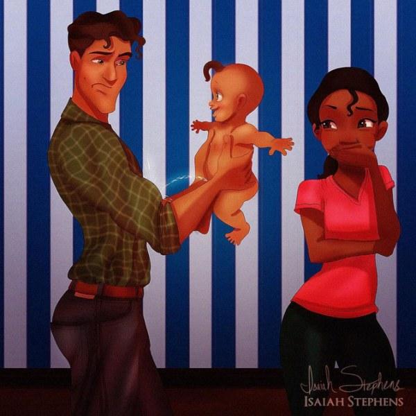 Сын Тианы написал на Навина из мультфильма «Принцесса и лягушка».