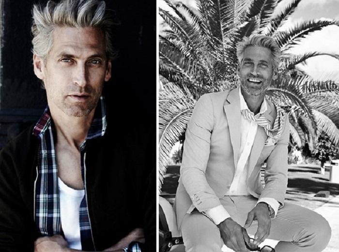 Настоящий возраст этого профессионального манекенщика выдают разве что седые волосы.