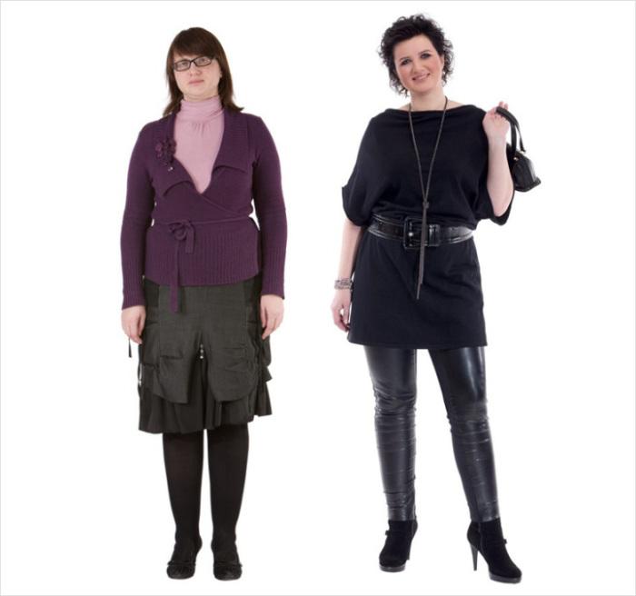 В одежде главное внимание стилист уделил линиям, корректирующим силуэт.