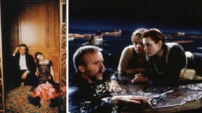 Джеймс Кэмерон и главные актёры Леонардо Ди Каприо с Кейт Уинслет.