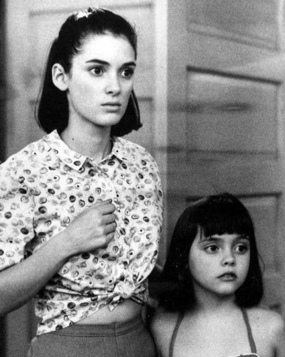 Американская актриса на съемках фильма «Русалки» (1990 год), ставшем дебютным для юной Кристины.