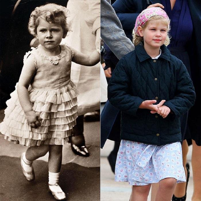 4-летняя Елизавета II в 1930 году и 6-летняя Луиза в 2009 тоже имеют схожие черты – например, нос и губы.