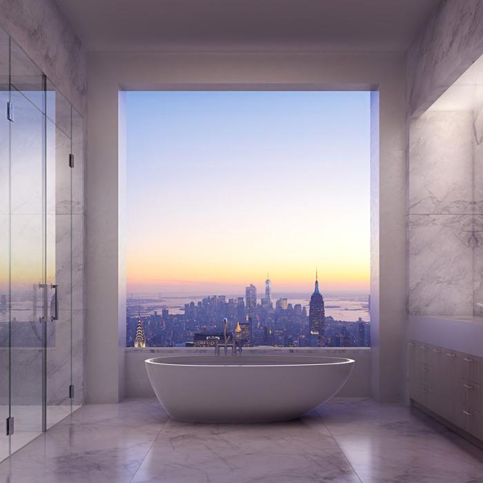 Вид из ванной комнаты в квартире стоимостью 95 миллионов долларов.