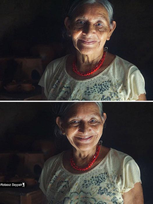 Женщина преклонного возраста с положительной энергией.