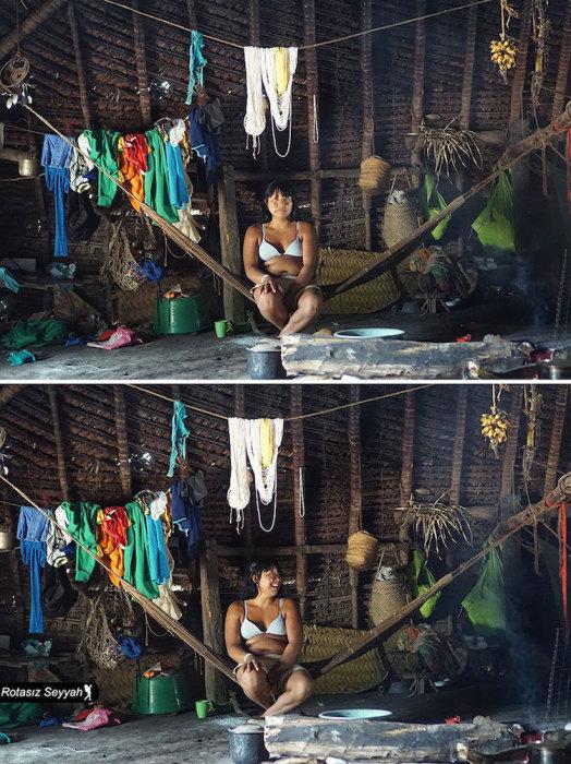 Молодая девушка отдыхает в гамаке после работы.