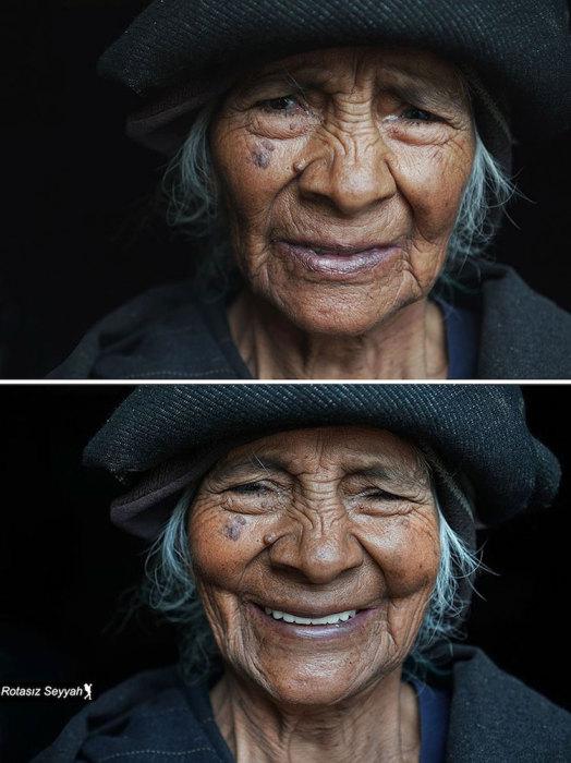 Пожилая дама в шляпе с морщинками на лице.