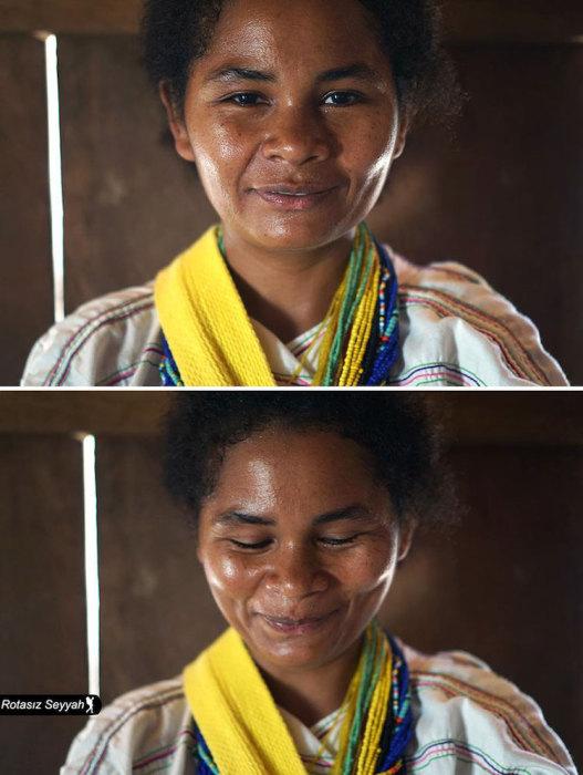 Скромная улыбка девушки в национальных одеждах.