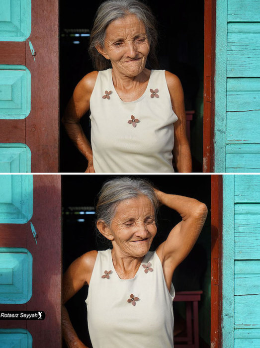 Беззаботная пожилая женщина с веселым настроением.