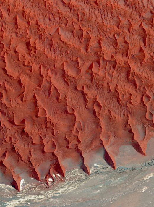 Красные песчаные дюны пустыни одни из самых высоких в мире, некоторые выше 200 метров.
