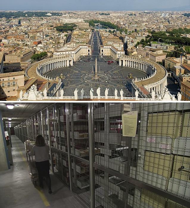 Протяженность стеллажей с архивными документами главы Католической церкви составляет 85 километров, доступ – только по специальному разрешению.