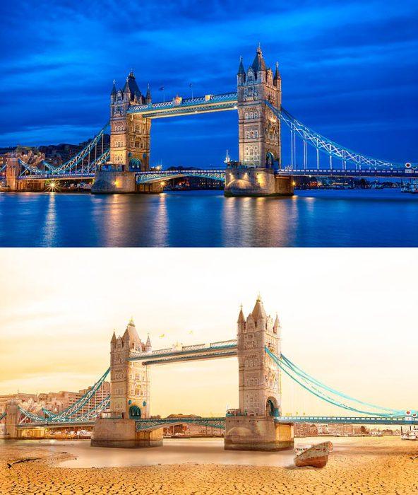 Самый известный разводной мост в центре Лондона над высохшей рекой Темзой.