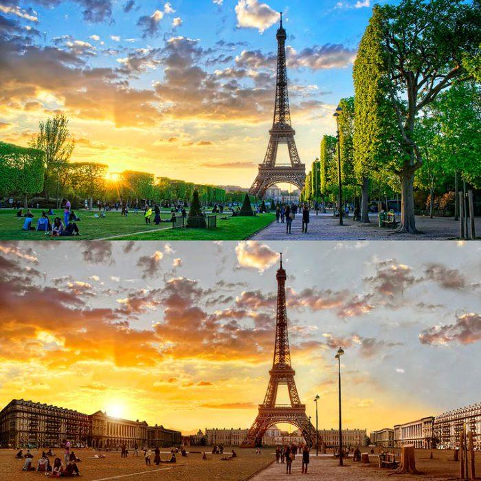 Самая узнаваемая архитектурная достопримечательность Парижа, которая находится Марсовом поле во время Великой засухи.