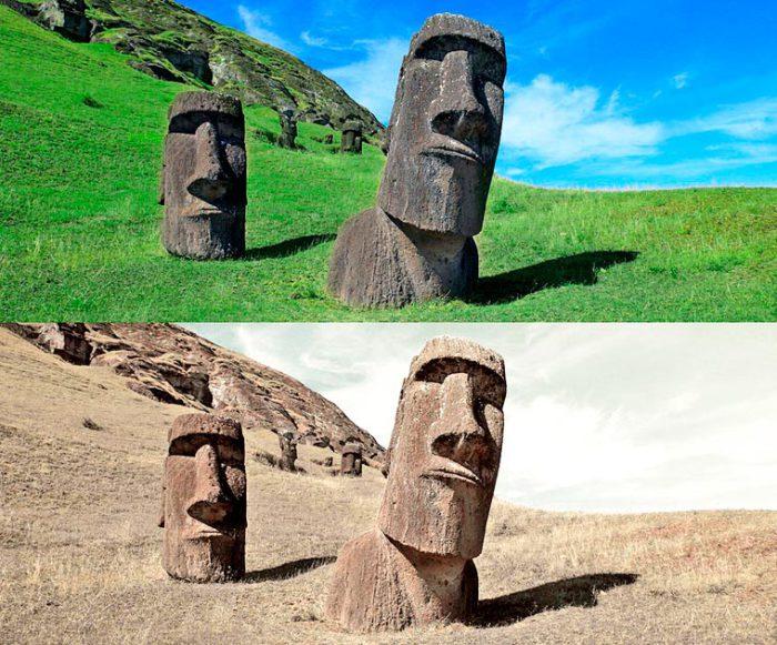 Остров в Тихом океане на территории Чили, известный благодаря гигантским статуям из вулканической породы во время засухи.