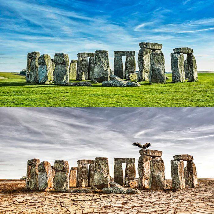 Всемирно известное каменное мегалитическое сооружение-кромлех на Солсберийской равнине во время засухи.
