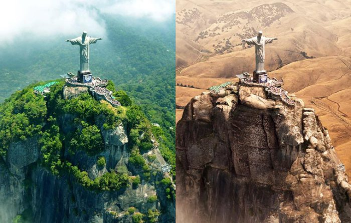 Один из самых известных и популярных в мире монументов во время засухи в Рио-де-Жанейро.