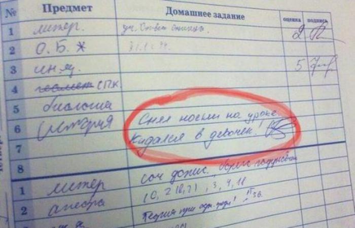 Школьные приколы из тетрадок и дневников.
