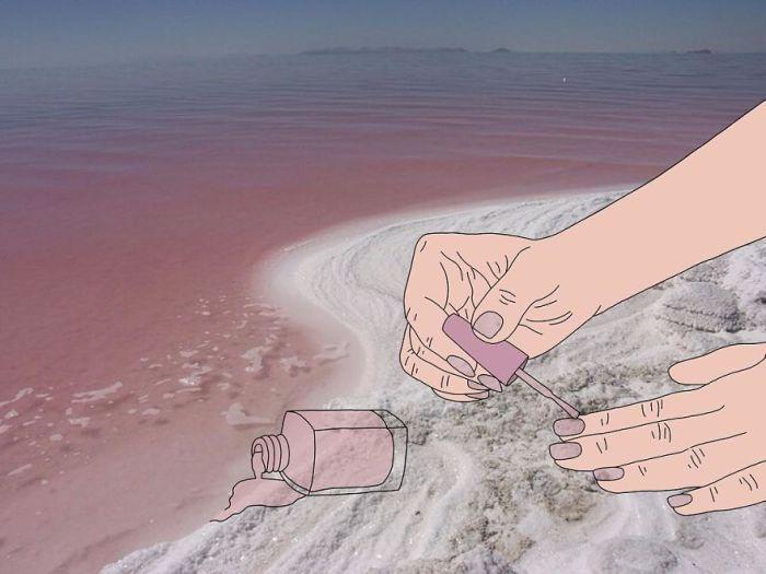 Лак для ногтей с минералами.