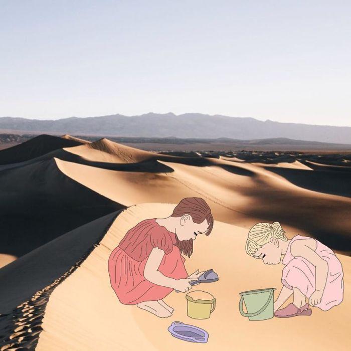 На песчаных дюнах пустыни.