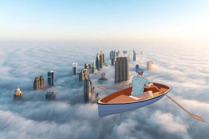 Среди вершин небоскребов, окутанных  туманом.