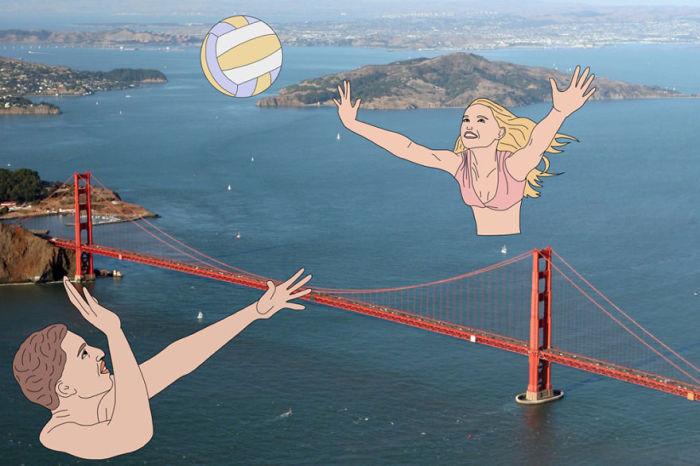 Игра в мяч через мост Золотые Ворота в Сан-Франциско.