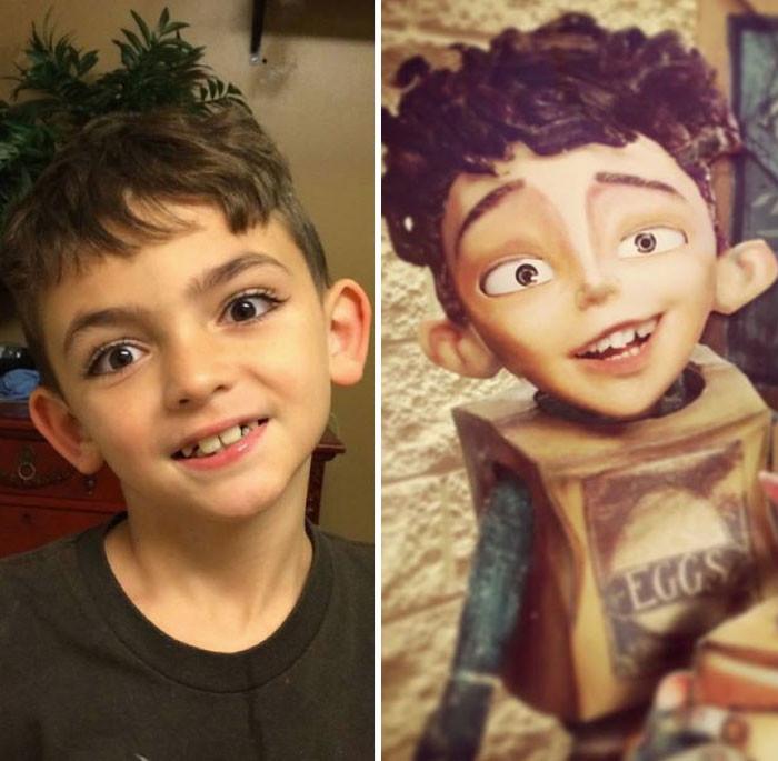 Мальчику из мультфильма забыли дорисовать ресницы, тогда глаза стали бы более выразительными.