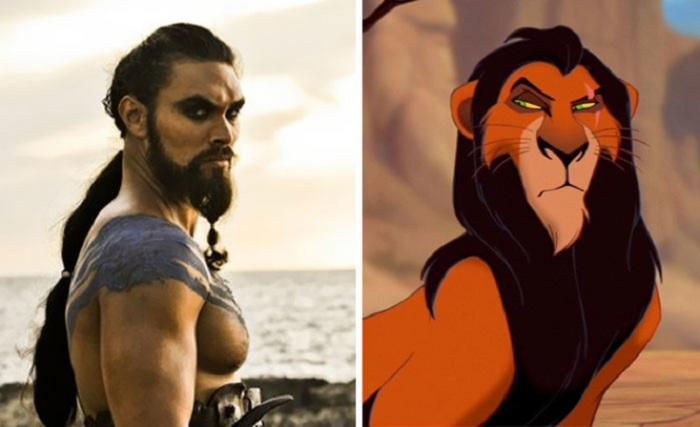 Актер Джейсон Момоа (Jason Momoa) в роли Кхала Дрого очень похож на льва, вплоть до шрама на брови.