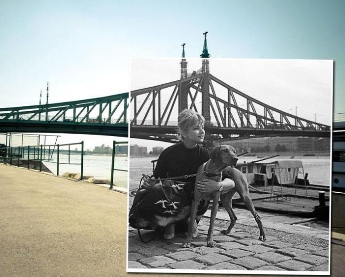 Оперная певеца Эржебет Хази на прогулке возле моста Свободы, который напоминает положенную на бок Эйфелеву башню. 1967 – 2013 года.