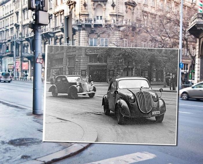 Пассажирский автомобиль Steyr 55 проезжает улицами Будапешта.