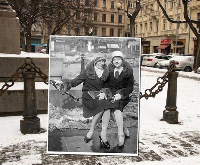 Возле памятника генералу Бему, который расположен на набережной Дуная в столице Венгрии. 1930-2016 года.