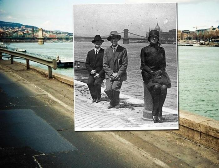 Прогулка вдоль набережной Дуная и по Цепному мосту Сечении, который соединяет две части города Буду и Пешт. 1928-2012 года.
