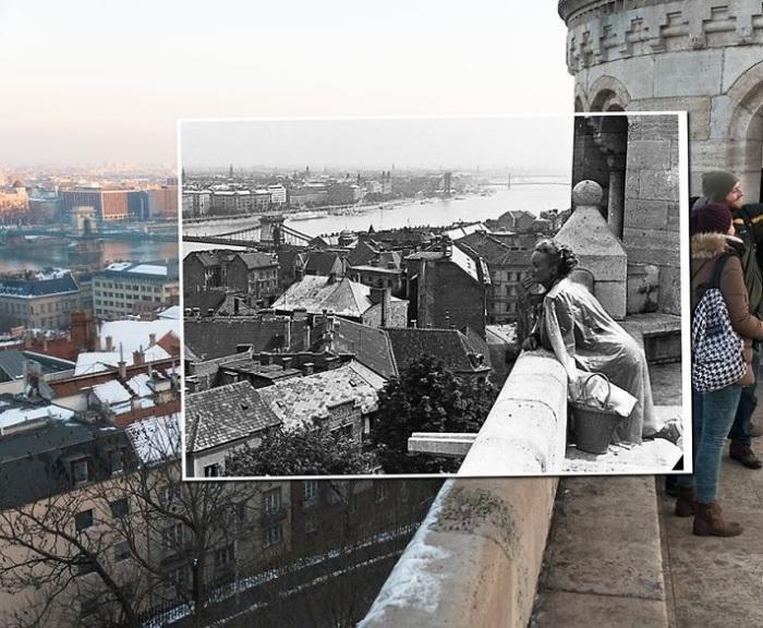 Белокаменная крепость с башнями, лестницами, аркадами и террасами, которые открывают великолепный вид на Дунай. 1941-2014 года.